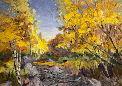 Impressionistic oil painting of fall aspen trees at Shevlin Park with dry creek bed and clear blue sky