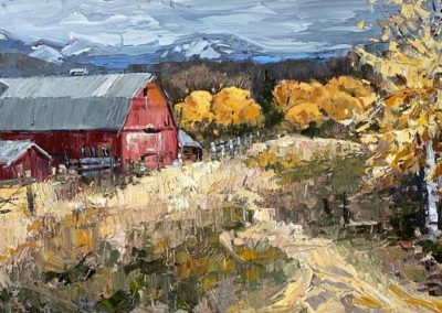 Impressionist oil painting of a red barn on a beautiful Fall afternoon