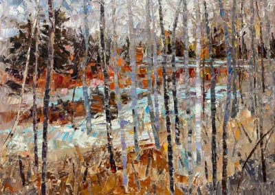 Contemporary oil painting of aspen trees in the fall.