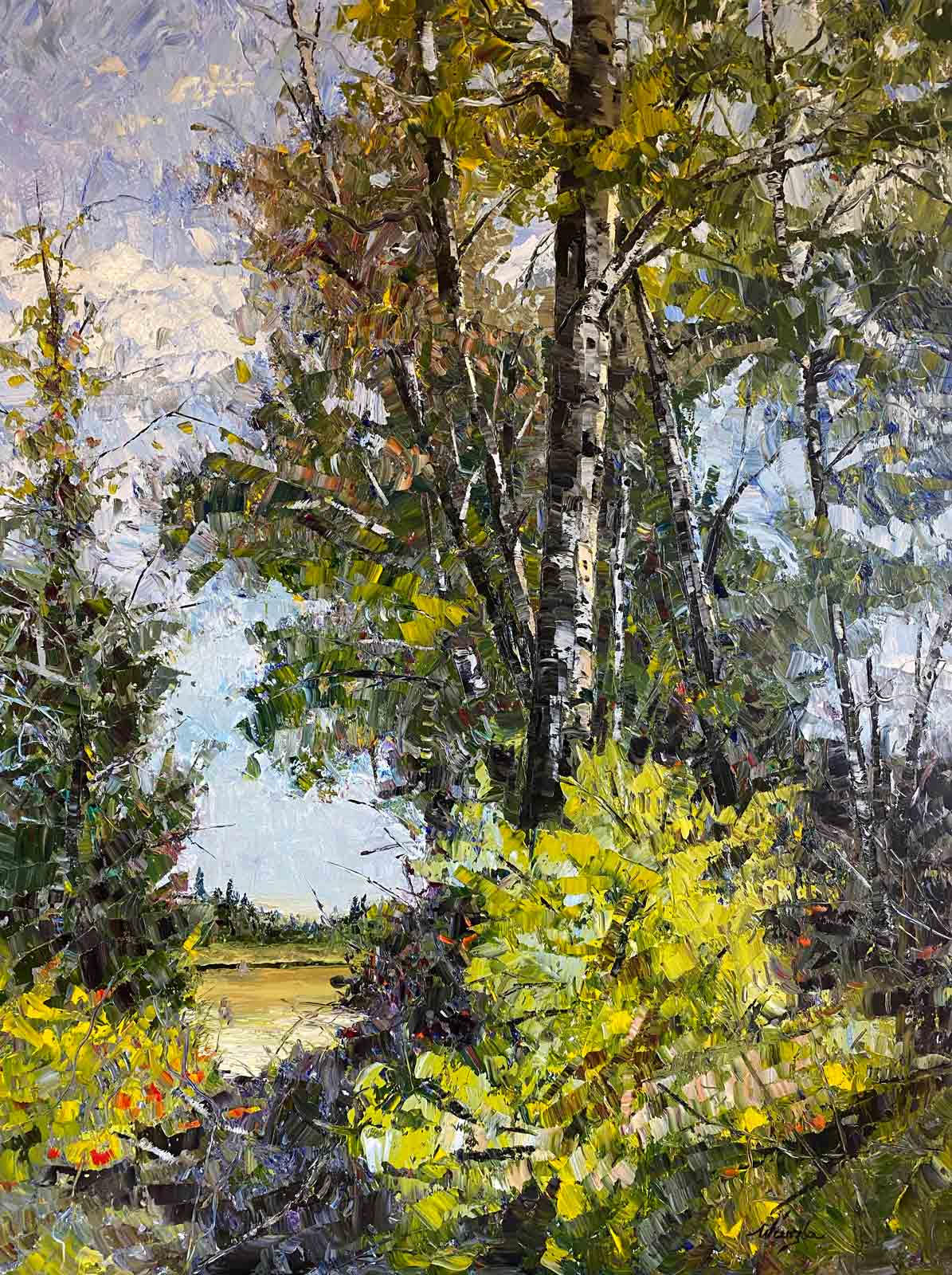 Deschutes River in Bend, Oregon impressionistic oil painting