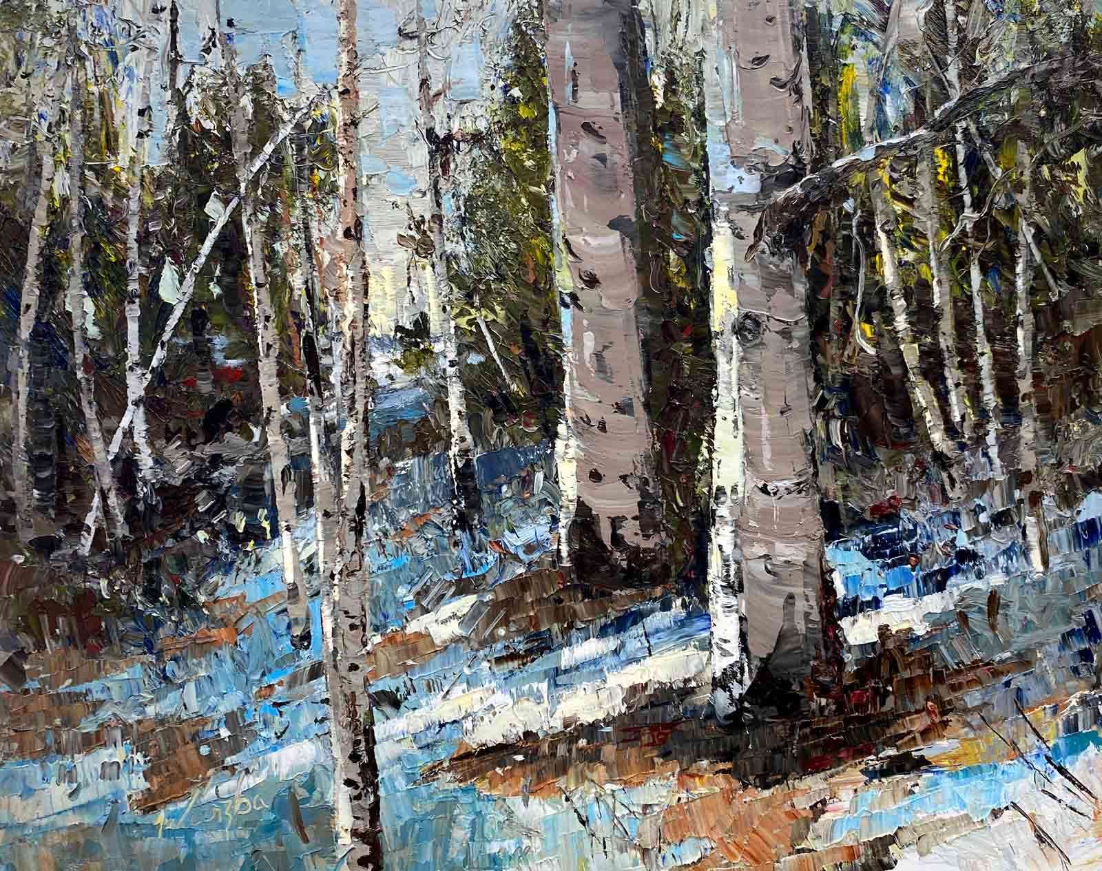 Oil painting at end of winter above a creek in the high Cascade mountains. Light and snow.