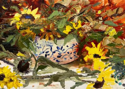 A still life impressionist painting of sunflowers by Shelly Wierzba