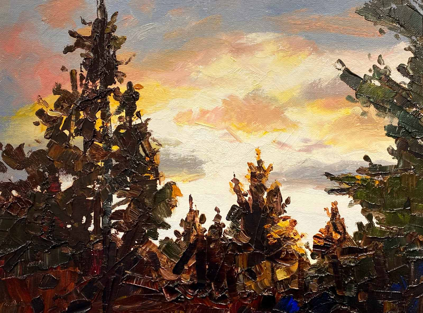 Original oil painting by Shelly Wierzba of pine trees silhouetted by an Oregon sunset
