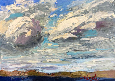 An oil painting of swirling clouds by Shelly Wierzba