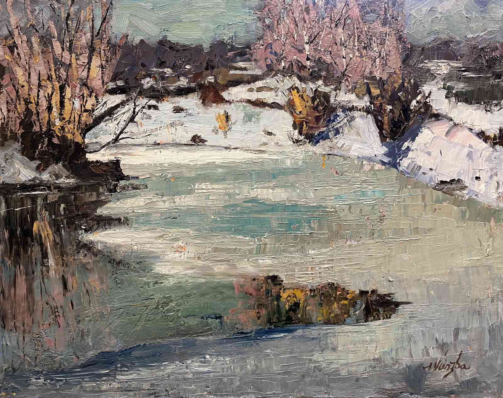 Ice and water over a pond in Central Oregon by Shelly Wierzba impressionistic artist