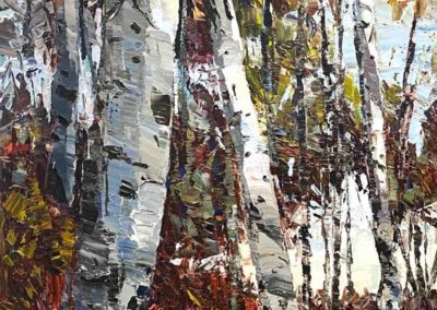 Contemporary oil painting of aspen trees in Oregon by Shelly Wierzba.