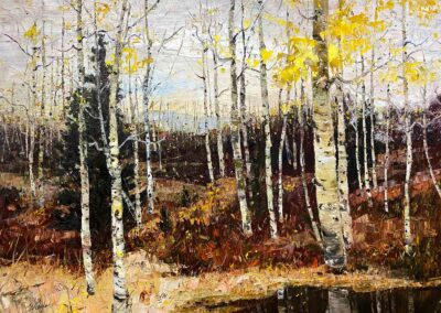 Late Fall oil painting of Aspen trees and their reflections.