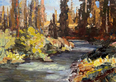 Shadows play over a river in an original oil painting