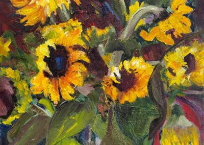 Impressionistic painting of sunflowers by Shelly Wierzba Oregon artist.