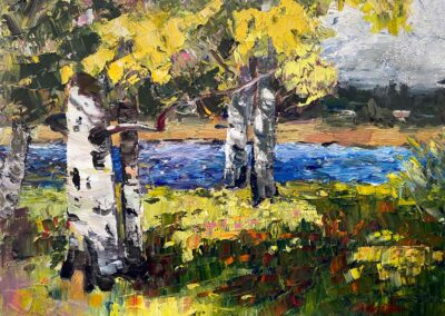 Impressionistic oil paint of aspen trees in the spring at Black Butte Ranch on a chilly morning.