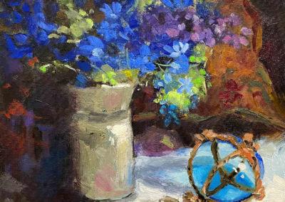 Still life painting of blue hydrangeas by Shelly Wierzba