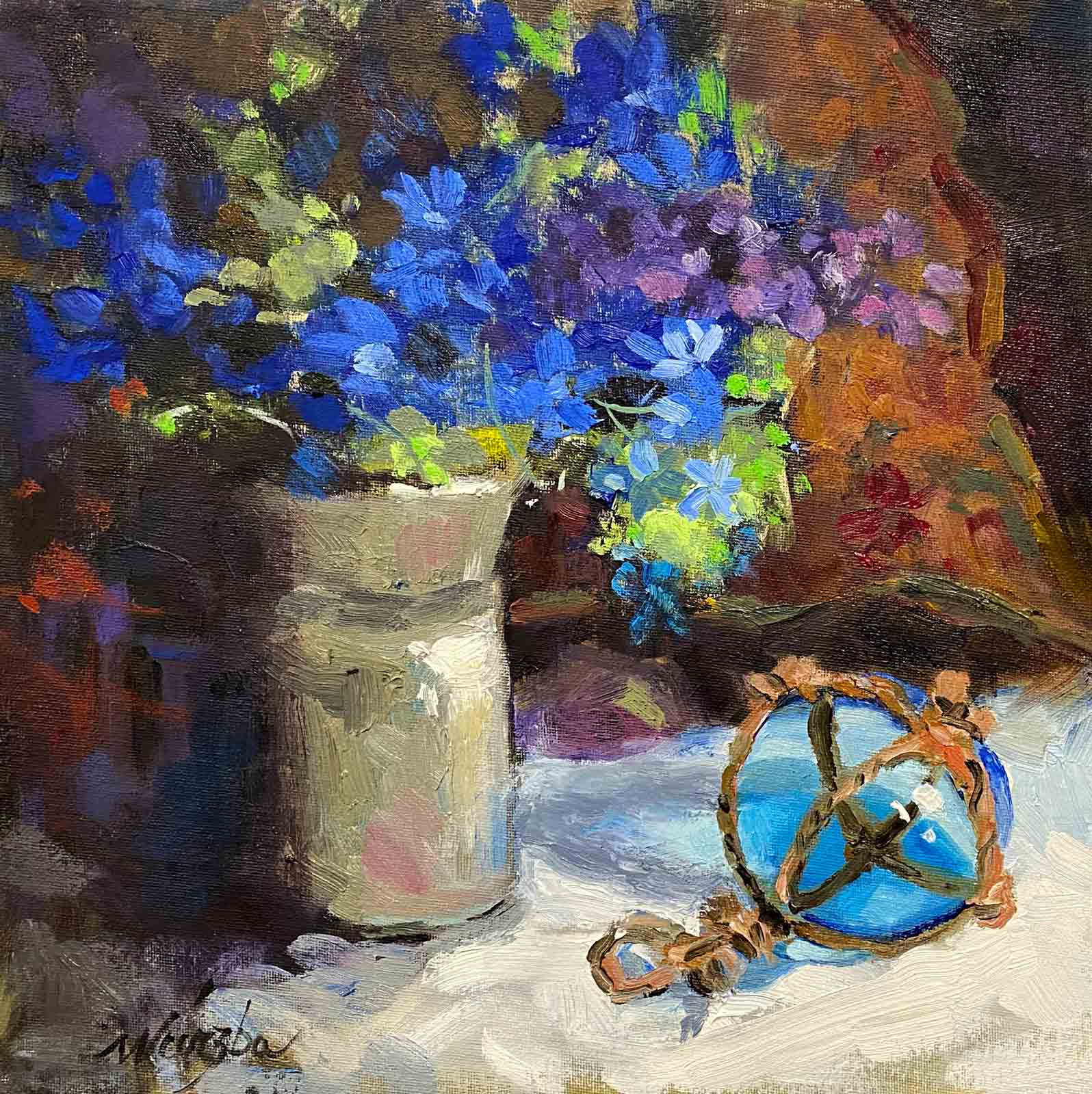 Still life painting of blue hydrangeas by Shelly Wierzba