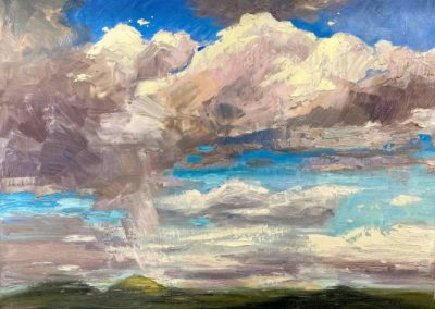 Impressionistic landscape oil painting of clouds in Oregon.