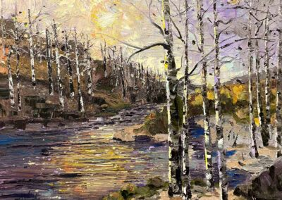 Impressionistic oil painting of aspen trees in winter by an Oregon River.