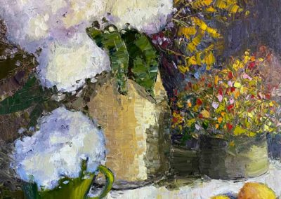 Impressionist still life oil painting of Hydrangeas and Lemons by Shelly Wierzba.