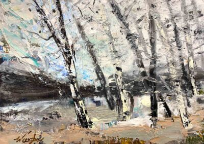 Impressionistic oil painting of aspen trees on a winter windy day