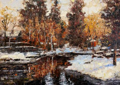 Oil painting of Mirror Pond in downtown Bend, Oregon.
