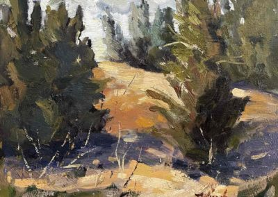 A small impressionistic oil painting, titled Through the Trees, by artist Shelly Wierzba.
