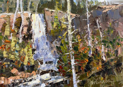 Oil painting of Tumalo Falls in Bend, Oregon