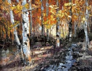 Oregon cascade mountains aspen trees changing leaves fall oil painting
