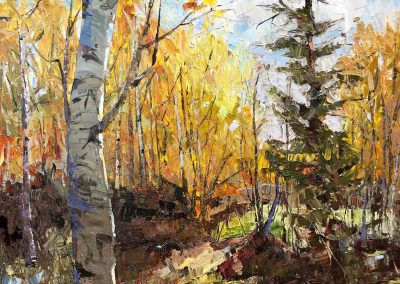 Changing leaves of an aspen stand fine art oil painting