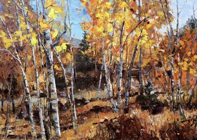 aspen trees changing leaves fall oil painting mountain landscape