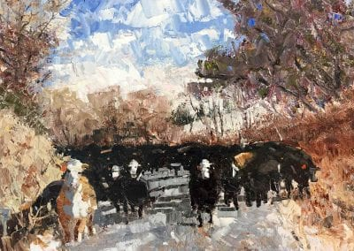 Shelly Wierzba farming fine art painting of cattle titled On The Move