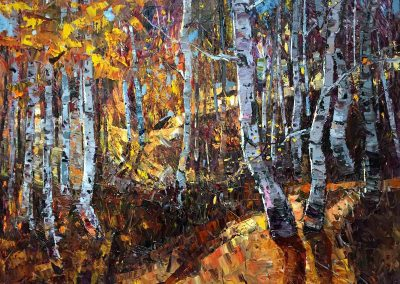 sunlight aspen trees changing leaves fall fine art oil painting