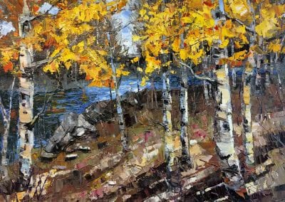 aspen trees deschutes river changing leaves fine art oil painting