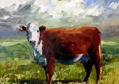 Original oil painting of a hereford heifer in a green grass field.