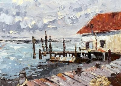 Oregon coast oil painting of an oyster shack.