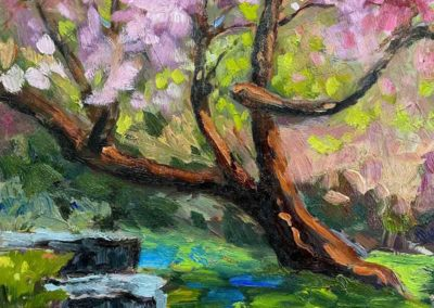 Impressionistic oil painting of flowering cherry blossom tree, by artist Shelly Wierzba.