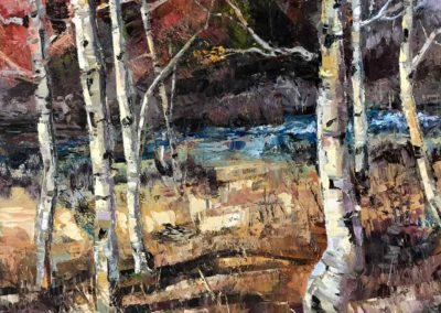 Shelly Wierzba landscape painting aspens titled Between Seasons