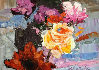 Still life oil painting of vibrant blooming flowers by Shelly Wierzba.