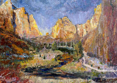 Oil painting of sunrise at Smith Rock State Park in Oregon