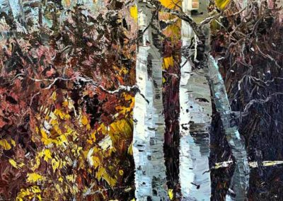Impressionistic oil painting of tangled aspen trees in Oregon.